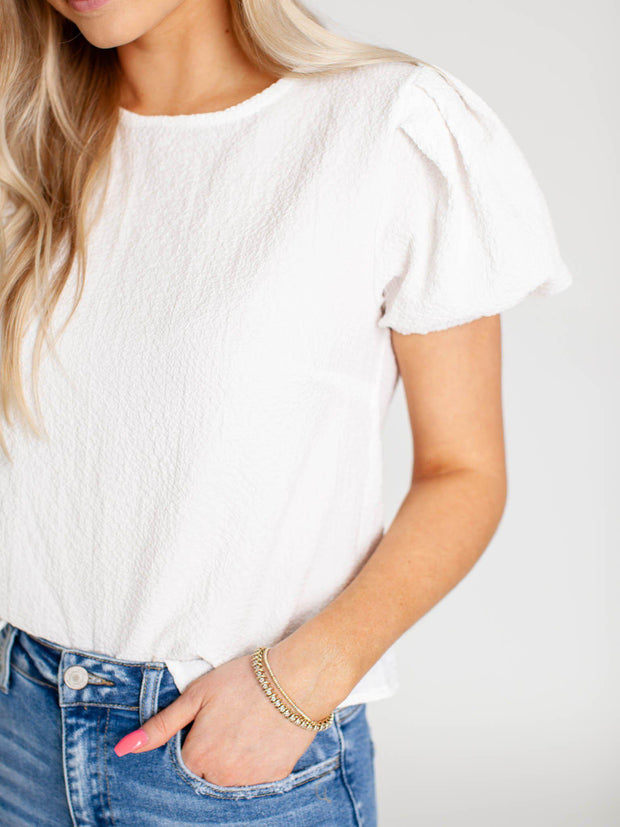 textured pleated sleeve top
