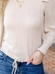 puff sleeve ribbed cropped sweater top