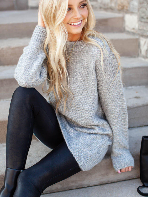 Drop Shoulder Tunic Sweater