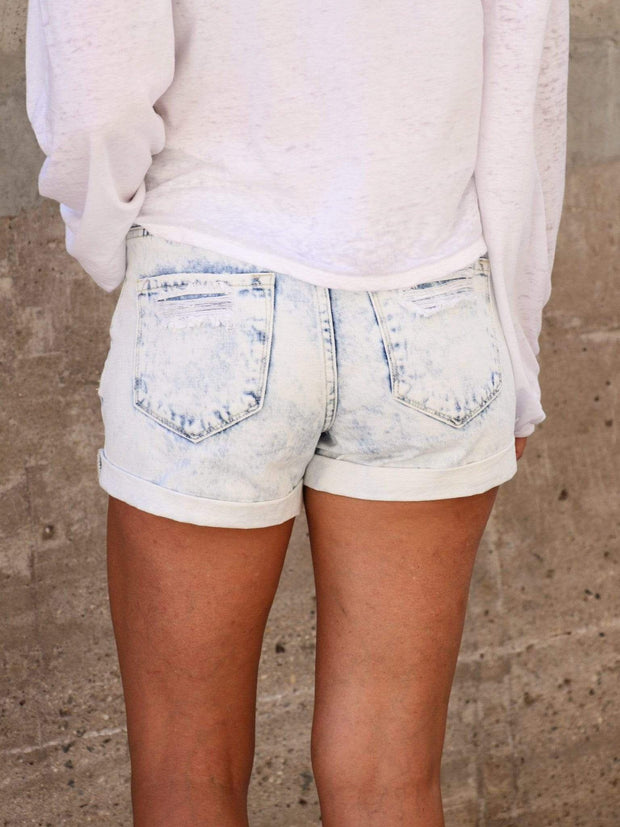 KanCan Bleached Acid Wash Distressed Shorts