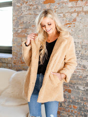 notched collar teddy coat