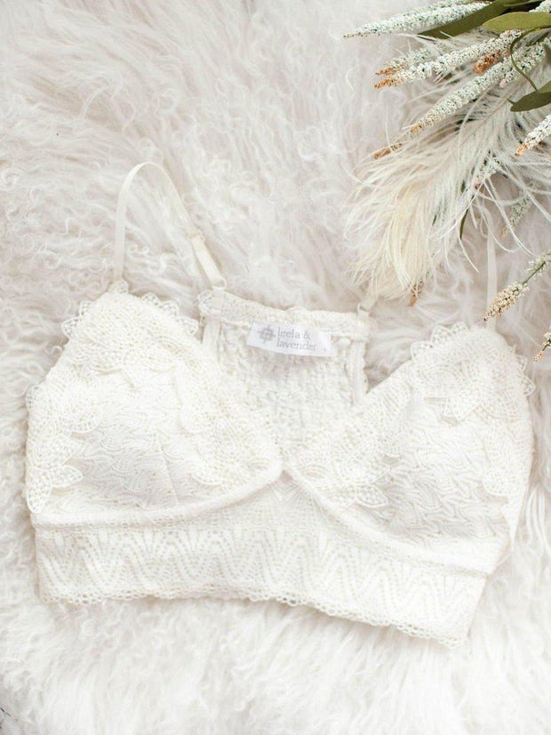 Lace Smocked White Bralette