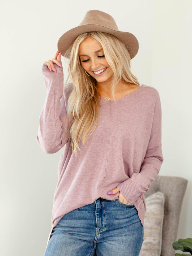 lavender v-neck sweater