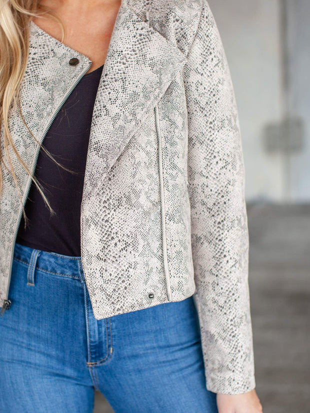 Cupcakes and Cashmere Cropped Snake Print Jacket