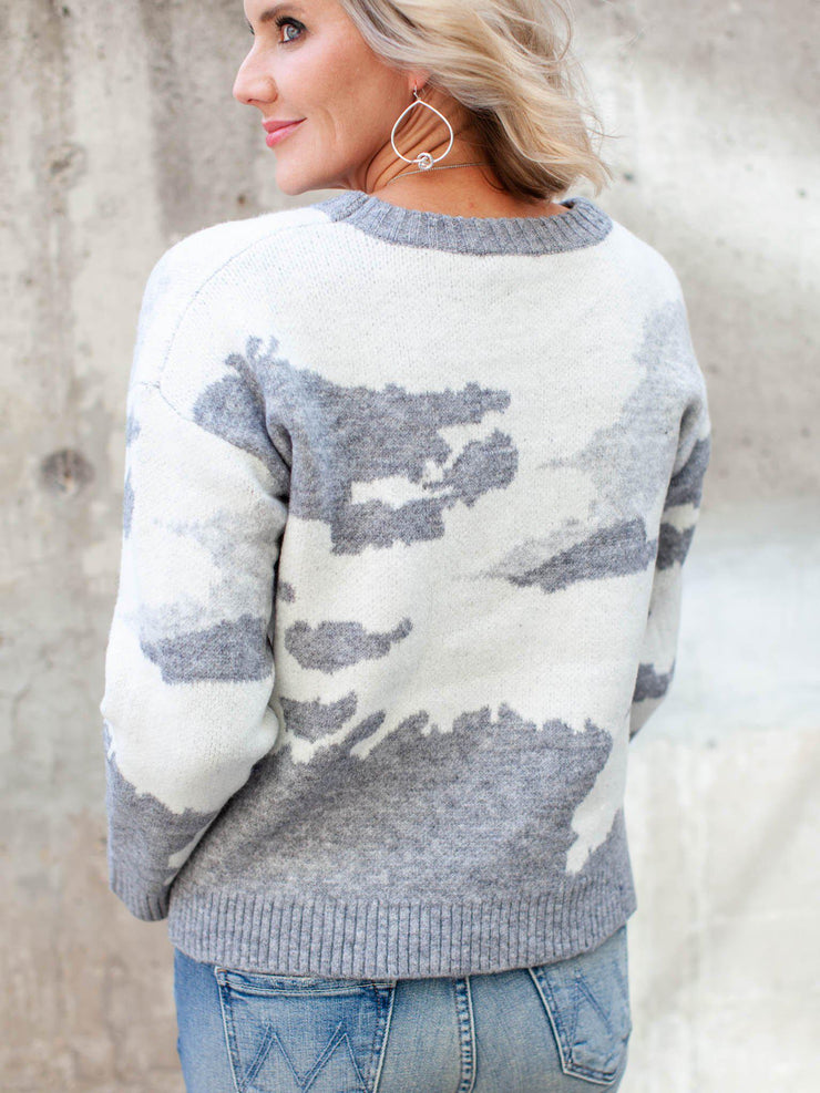Rib Hem Printed Cozy Sweater