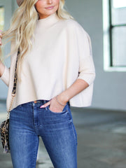 mid sleeve cropped sweater