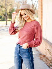 thick ribbed long sleeve top