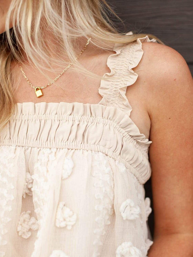 Smocked Ruffle Detail Textured Cropped Tank