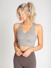 printed v-neck sports bra
