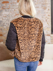 quilted sleeve animal print jacket