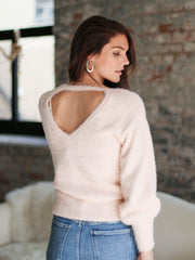 Fuzzy Open Back sweater