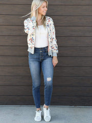 Saltwater Luxe Zip Front Floral Bomber
