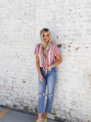 Cropped Tie Front Stripe Top