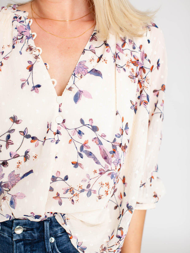 textured floral blouse