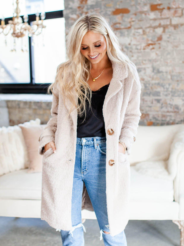 sleek faux fur button front jacket