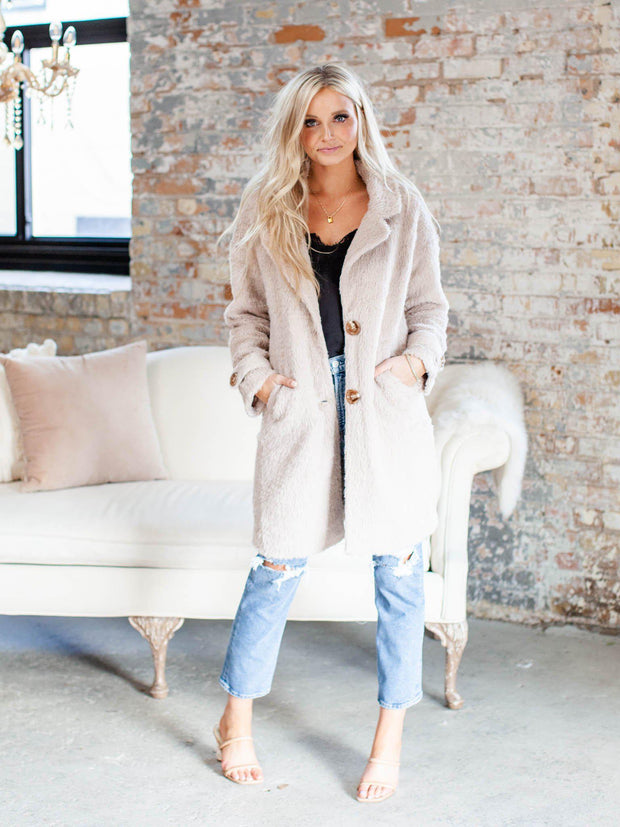 longer button front coat