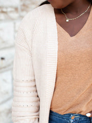 Cable Knit Detail Open Front Cardigan