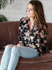Free People Floral Button Front Blouse