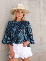 Palm Print Ruffle Sleeve Off The Shoulder