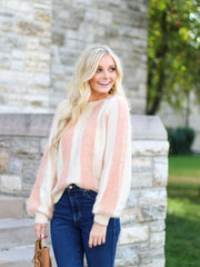Fuzzy Mixed Stripe Sweater