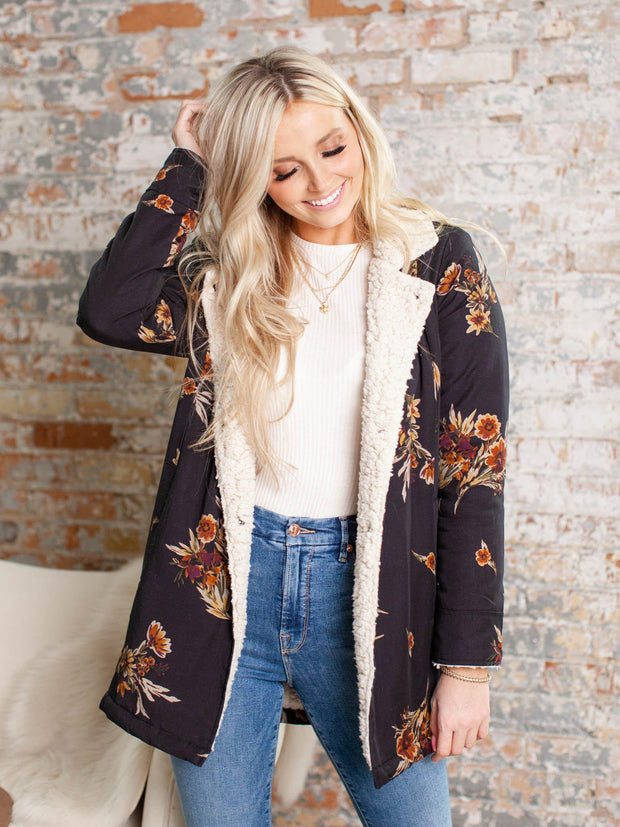 floral print sherpa collared coat