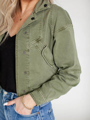 cropped button front jacket