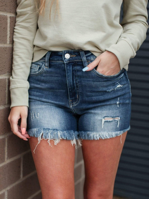 Flying Monkey High Rise Fringe Hem Denim Shorts
