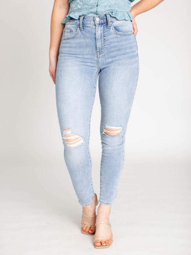 high rise light wash denim
