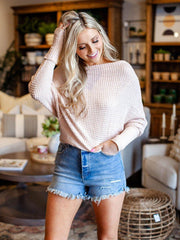 Relaxed Waffle Scoop Neck Off The Shoulder Top