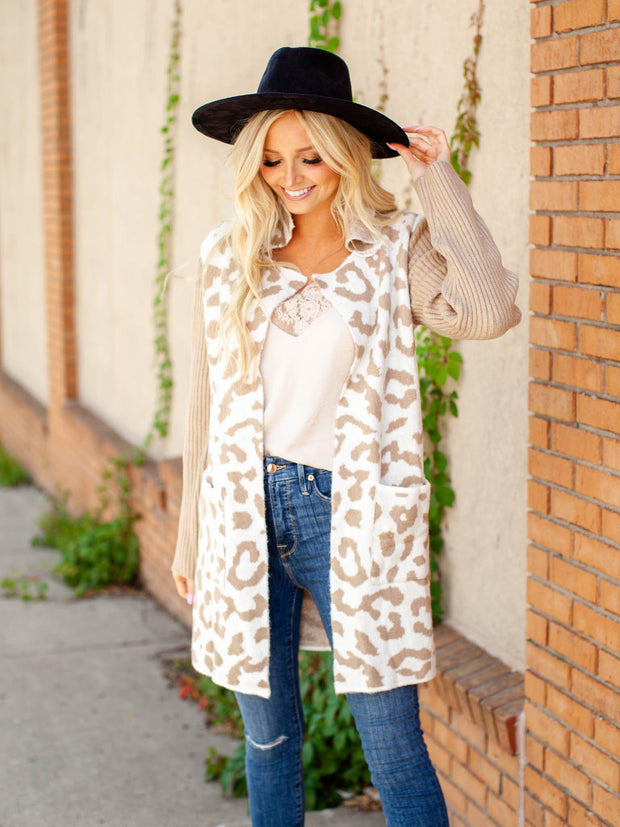 Ribbed Sleeve Leopard Print Cardigan