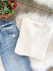 ivory mixed rib sweater
