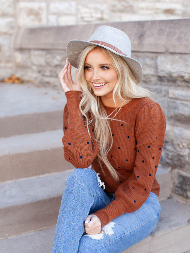 bronze polka dot sweater