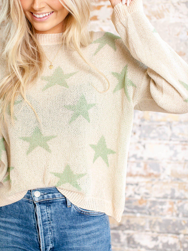 lightweight star print top