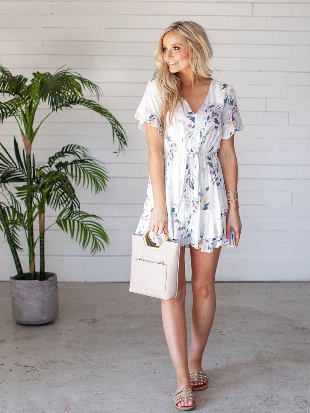 Gentle Fawn V Neck Floral Mini Dress