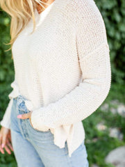 Basic V-Neck Textured Sweater