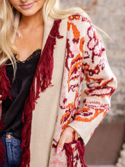 open front printed cardigan