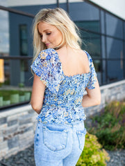 ASTR Cropped Floral Smocked Top