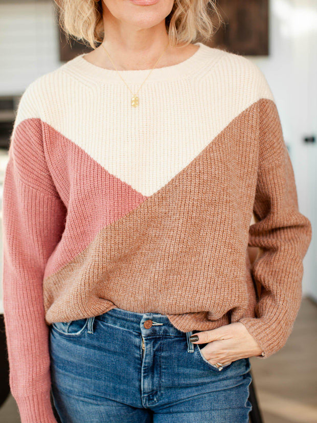 ribbed crew neck color block sweater