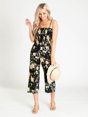 smocked floral jumpsuit