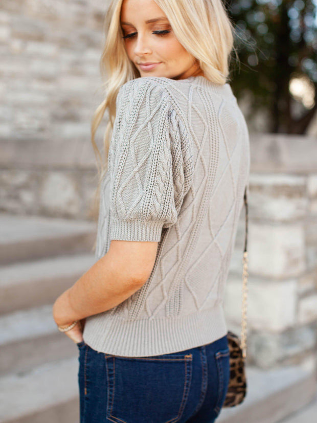 Short sleeve Cable Knit Sweater Top