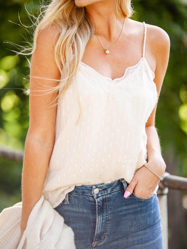 Stripe Lace Tank