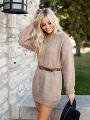 Brown drop Shoulder Sweater Dress