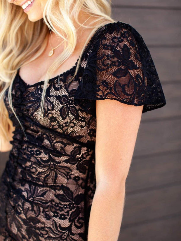 ASTR Flutter Sleeve Lace Dress