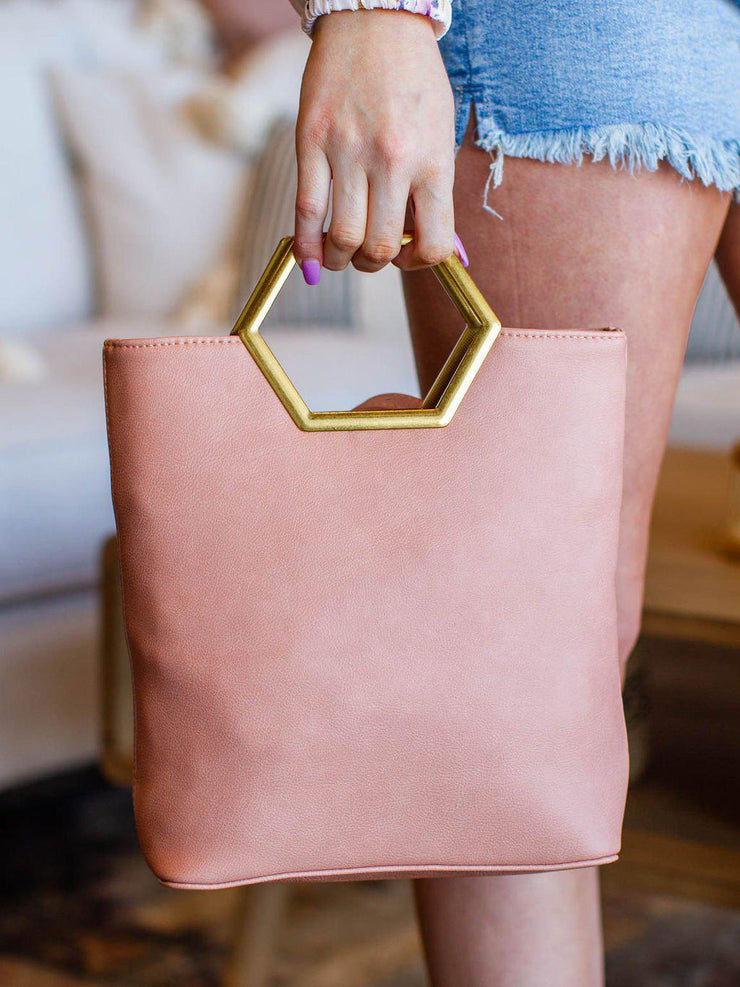 Small Metal Handle Tote Purse