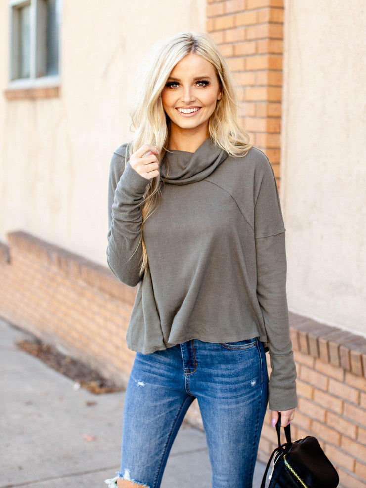 free people drop shoulder funnel neck sweater