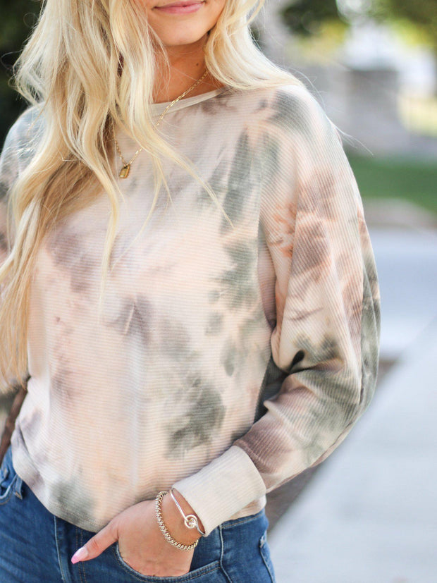 Cropped Ribbed Tie Dye Long Sleeve
