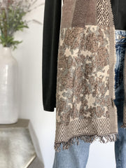 Animal Print Fringe Scarf