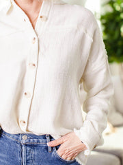 frayed button down top