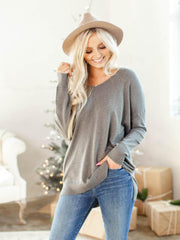 drop shoulder grey sweater