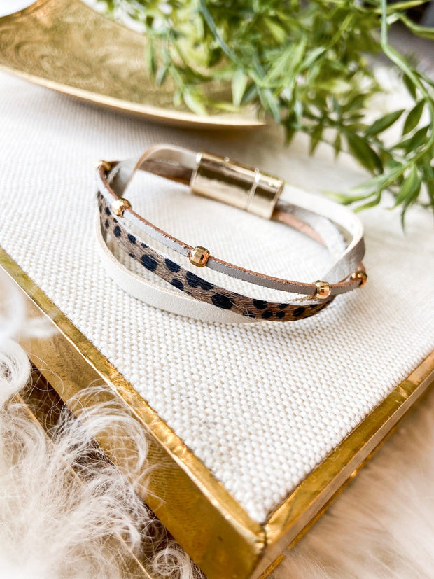 Mixed Leather Wrap Bracelet